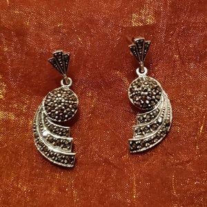 Jewelry - Sterling Silver Marcasite Art Deco Post Earrings